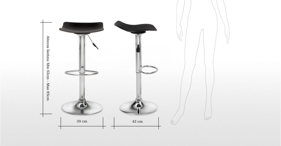 Sgabelli Seduta 85 Cm : Set di 2 sgabelli alti regolabili con sedile nero made.com made