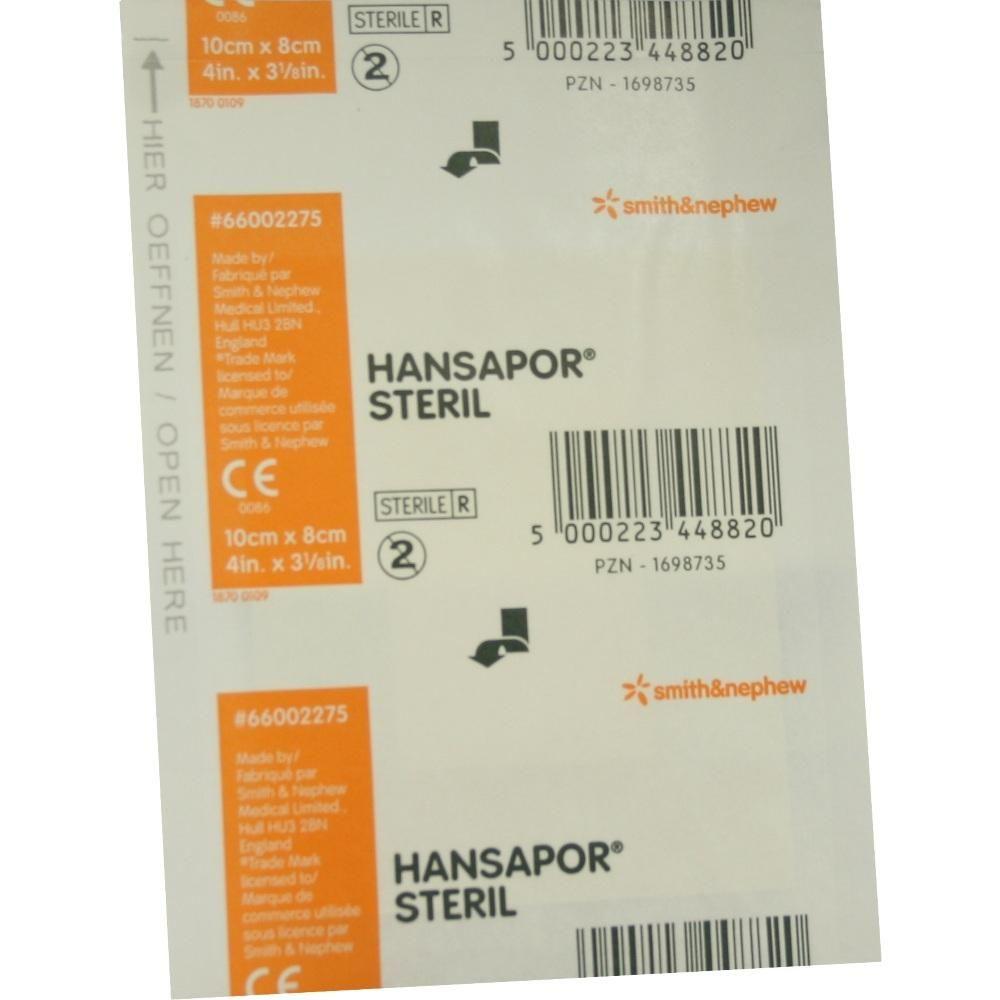 HANSAPOR steril Wundverband 8x10 cm:   Packungsinhalt: 1 St Verband PZN: 01698735 Hersteller: Smith & Nephew GmbH Preis: 1,22 EUR inkl.…