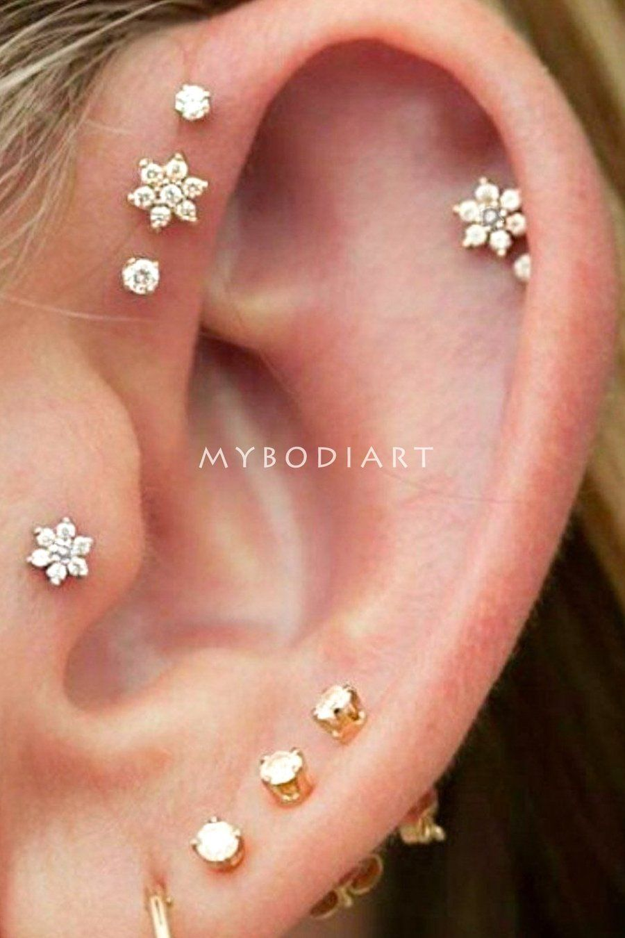 Women Crystal Cartilage Stud Earing Heart Flower Piercing Tragus Body Jewelry