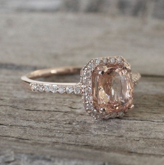 Peach Champagne Shire Diamond Halo Ring Set In Rose Gold