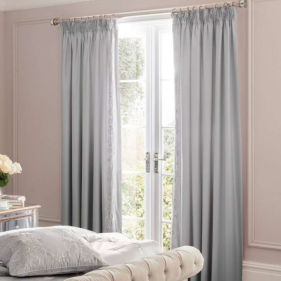 Lined Bedroom Curtains Dorma Brocatello Grey Lined Pencil Pleat Curtains Dunelm