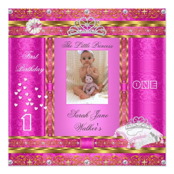 Little Princess First Birthday Party Photo Pink 525x525 Square - invitation card for ist birthday