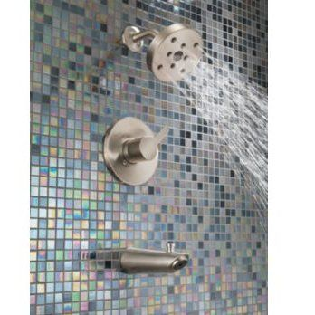 Delta Compel Thermostatic Volume Control Tub And Shower Faucet Trim With Lever Handles And Monitor Shower Faucet Tub Shower Faucets Shower Tub
