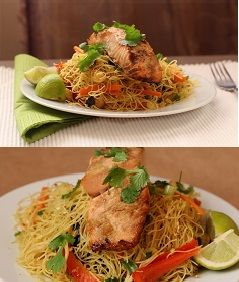 Best Asian style Salmon dish ever..easy quick and healthy baked salmon on rice noodles.  Click for recipe : http://everylittlecrumb.com/recipe/baked_salmon_on_singapore_rice_noodles/