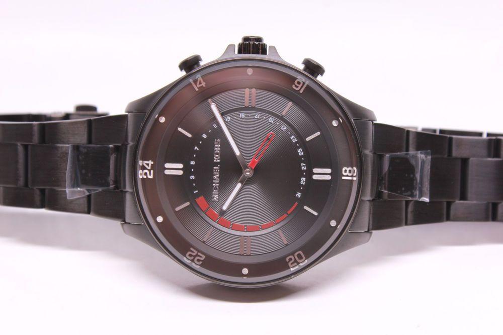 225d0f40aecc NWT Michael Kors Access Reid Black Stainless Steel Hybrid Smart Watch  MKT4015