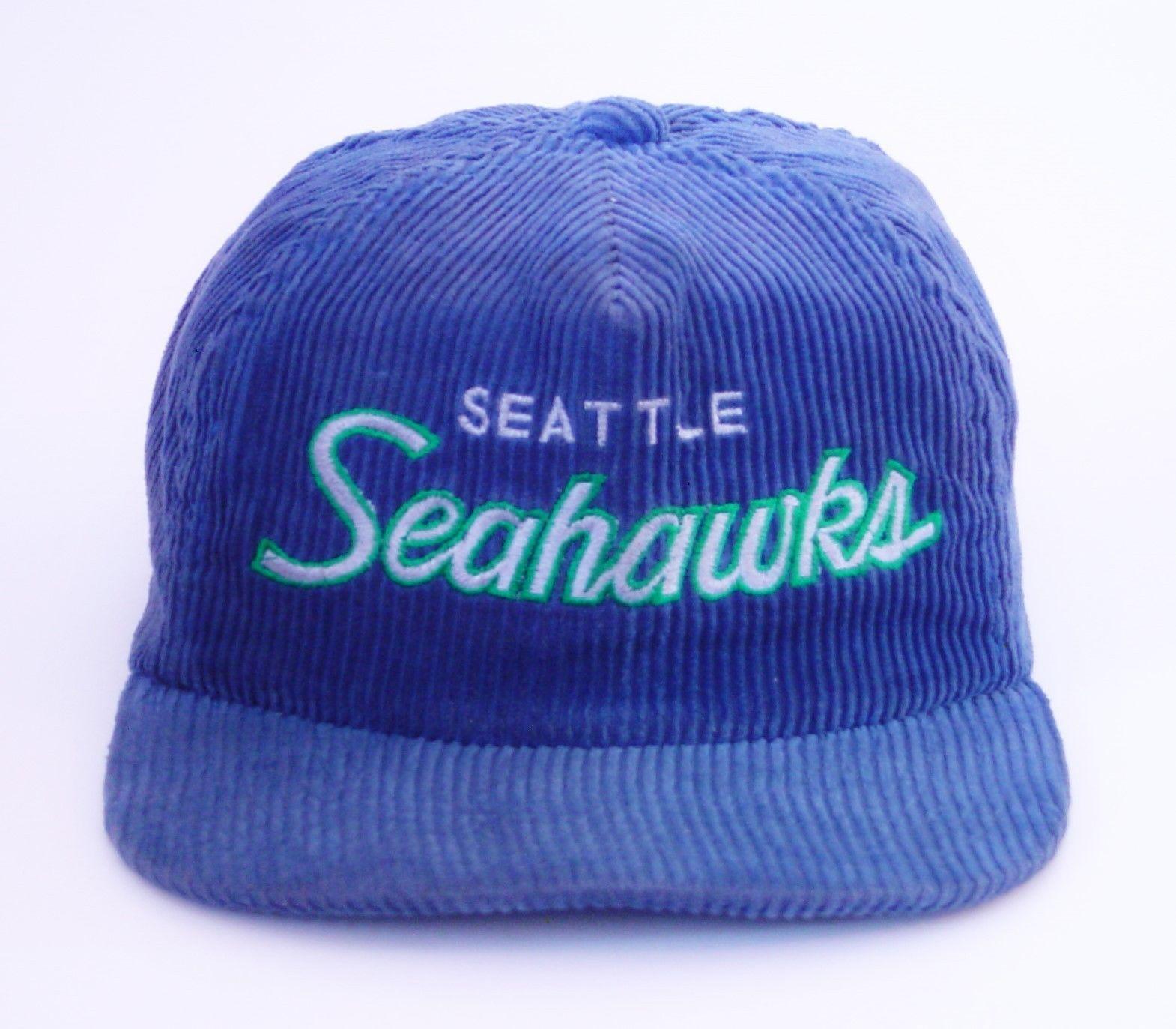Vintage Sports Specialties Seattle Seahawks Script Corduroy Zipback Hat Cap   2c0cf0713d15