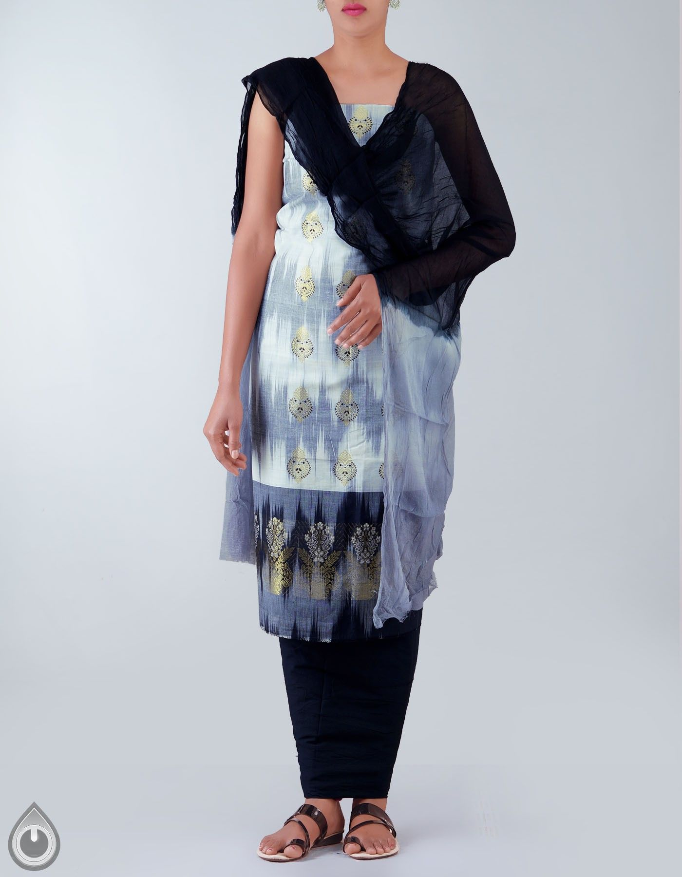 Unstitched white and black pure handloom kanchi cotton salwar kameez