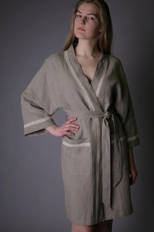 be2606b2b4 Pure Linen Eco Friendly Natural Bath Night Robe Short