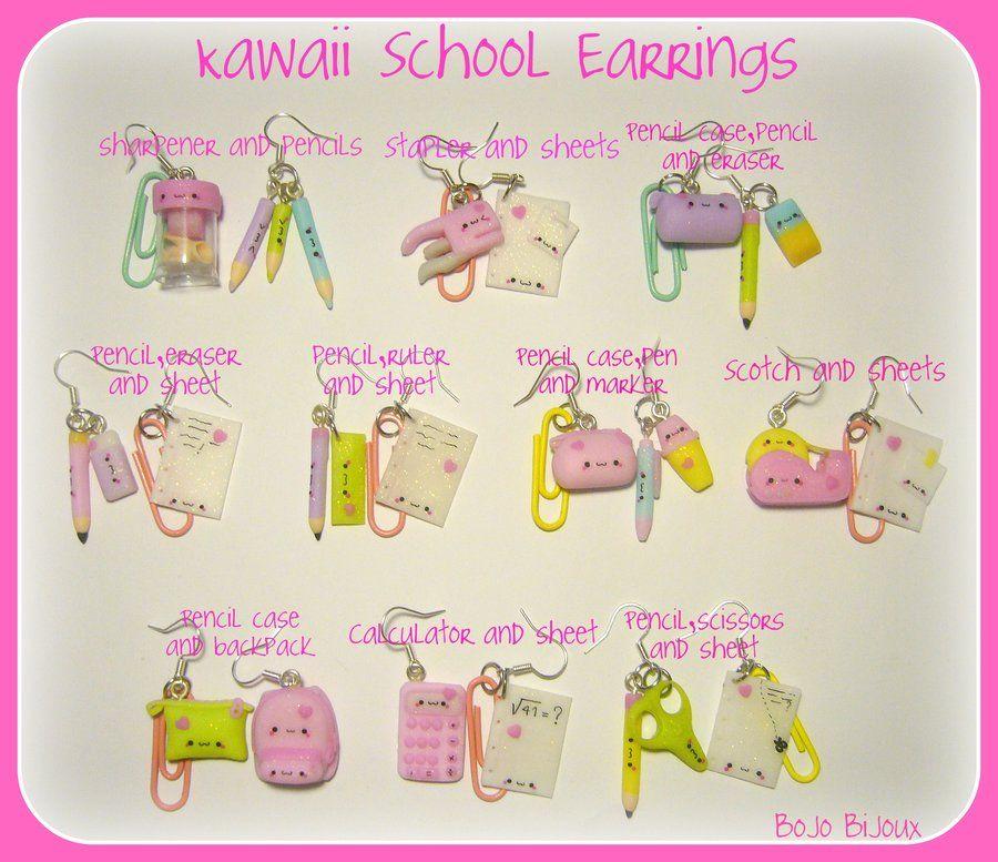 Kawaii School Earrings by Bojo-Bijoux.deviantart.com on @deviantART