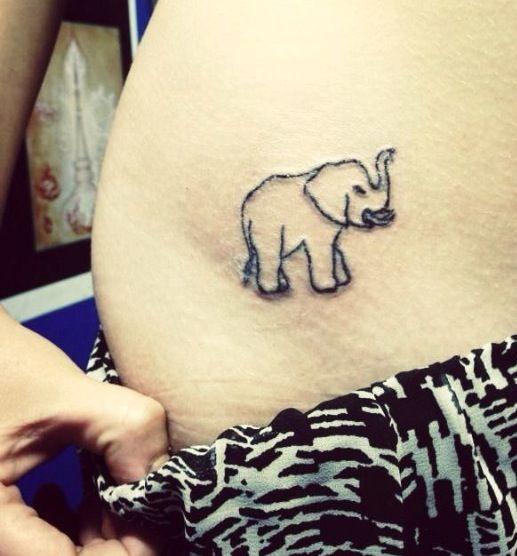 Good Luck Elephant Tattoo: Elephant Hip Tattoo, Trunk Up For Good Luck #elephant