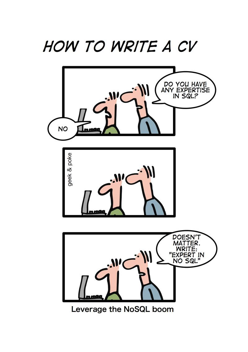 comic  how to write cv for nosql