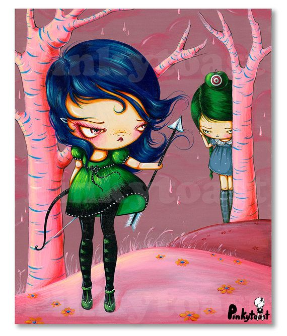 Original Painting-Apple Archer-Bow and Arrow-Gothic Big Eye Fairy Tale Girls-Pinkytoast Art-16x20 inches