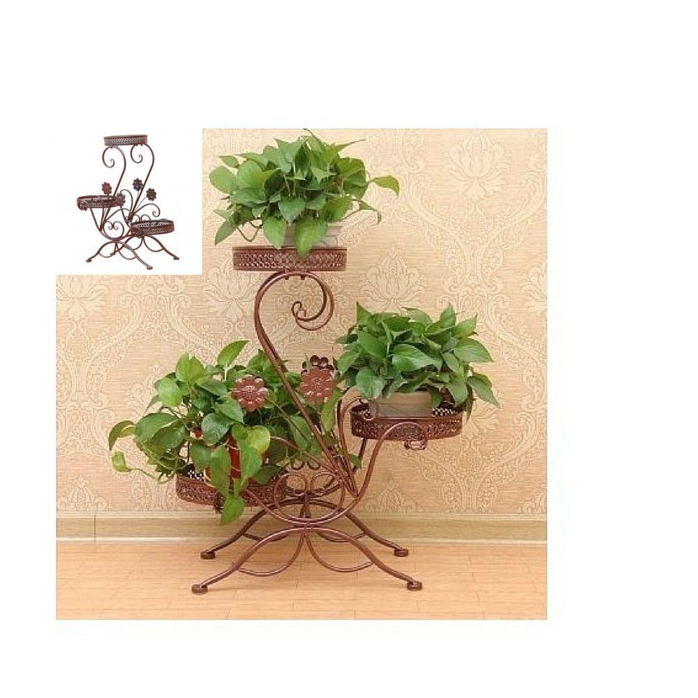 Garden Plant Stand Display Outdoor Decoration Pot Yard Metal Patio Stands 3  Tier