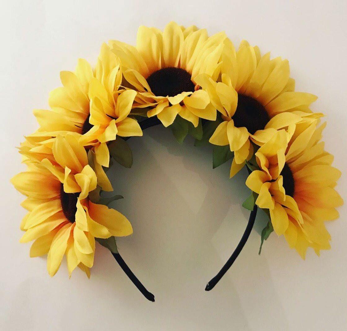 Items similar to Large Sunflower Crown headband, festival headband, sunflowers, boho style, Bohemian, Coachella, natural style, flower headband on Etsy