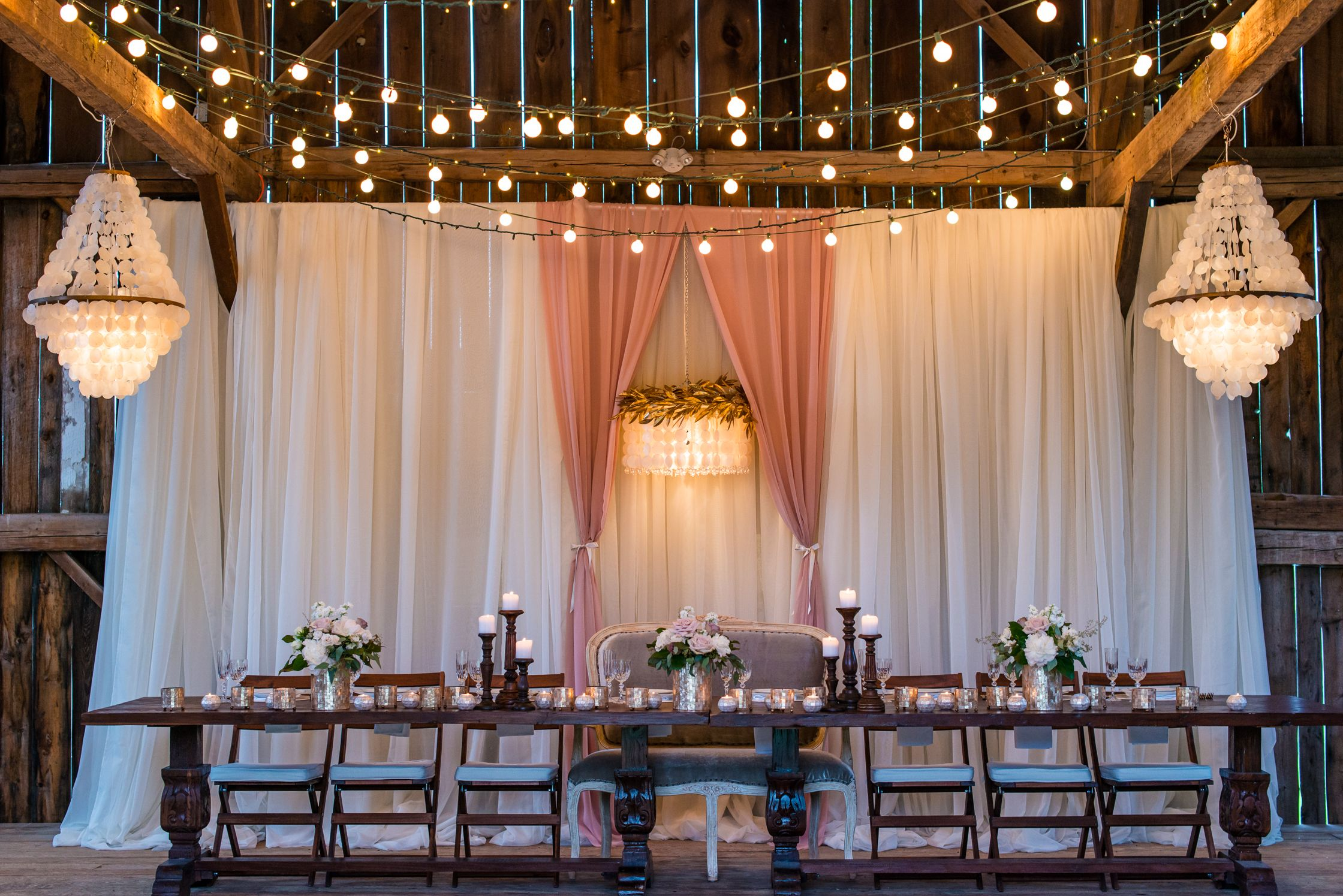 LME's 3D Chandelier Head Table Backdrop with Blush accent