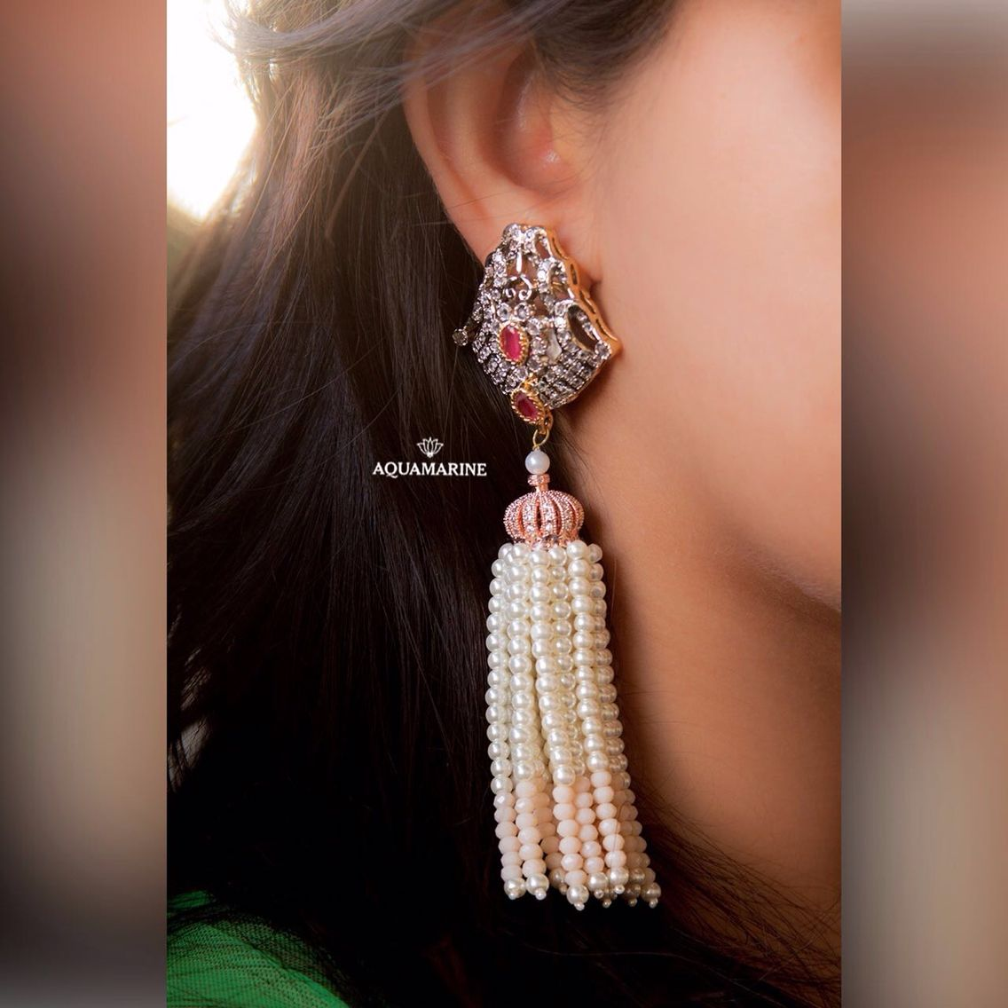 These earrings in the most amazing design with diamante' and pretty drop pearl tassels are a must have accessory. By Aquamarine.  #aquamarine_jewellery #designer #jewellery #accessories #fashion #trends #wedding #earrings #diamonds #pearls #mumbai #india #colaba #breachcandy #lokhandwala #aquamarinejewellery