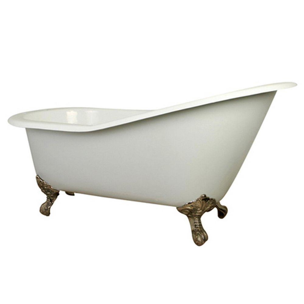 Aqua Eden 5 Ft Cast Iron Satin Nickel Claw Foot Slipper Tub With 7 In Deck Holes In White Kingston Brass Cast Iron Bathtub Clawfoot Bathtub