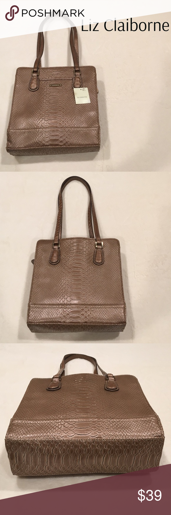 Tan Faux Lizard Leather with Silver Spots