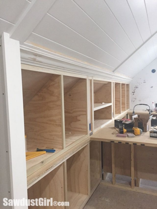 Crown Moulding On Angled Ceiling Sawdust Girl Attic Renovation Attic Shelves Angled Ceilings