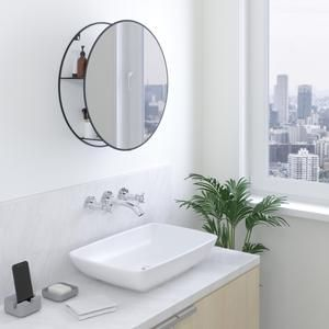 Cirko Round Wall Mirror Shelf