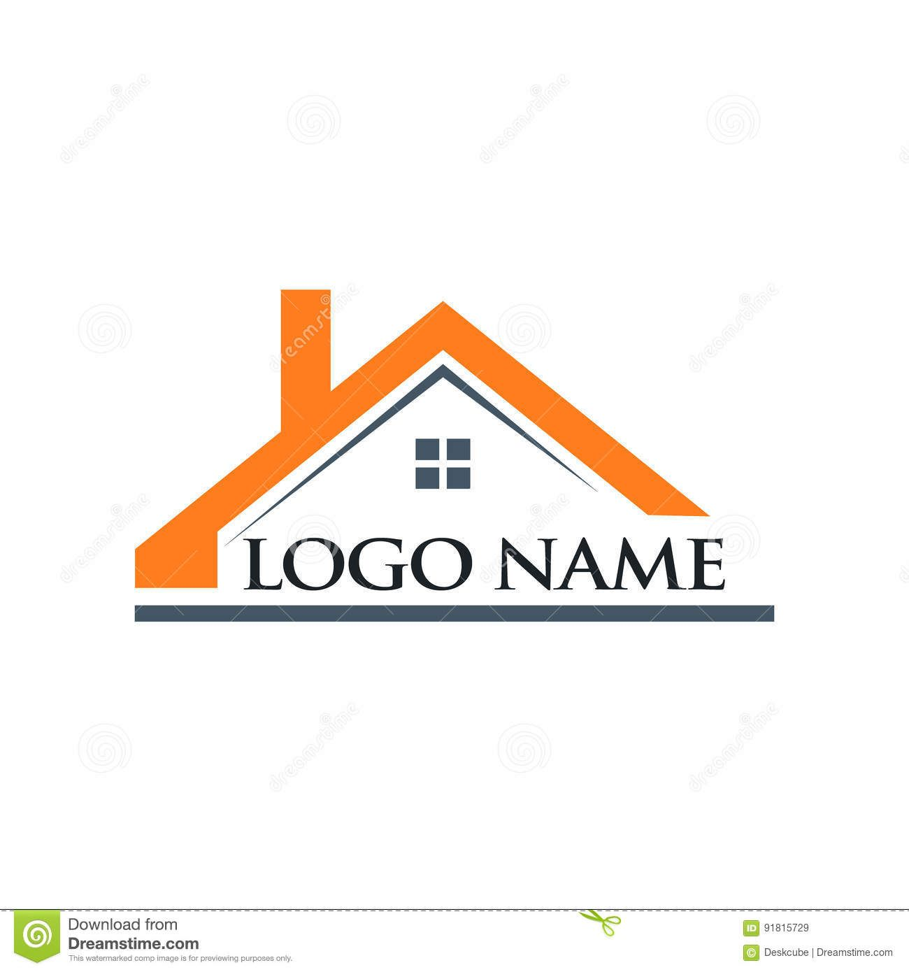 Roof House And Logo Name Illustration Real Estate Logo Inspiration Home Logo House Roof