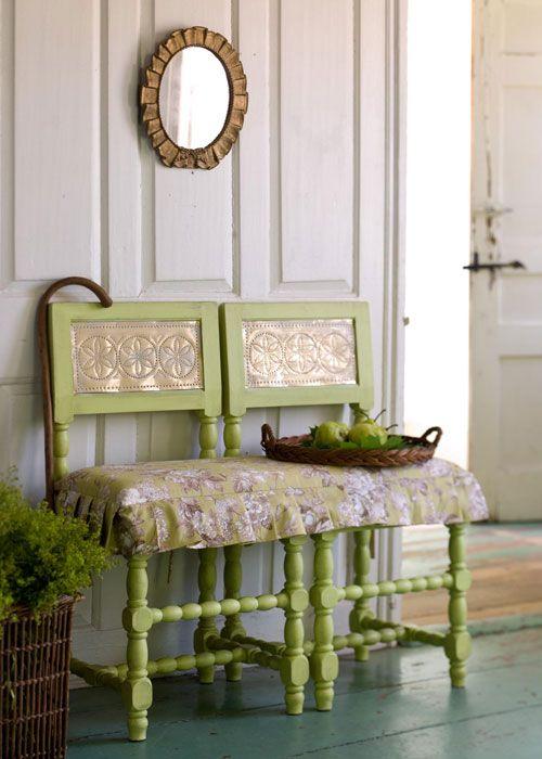 dos sillas transformadas en un banco | Manualidades y creatividad ...