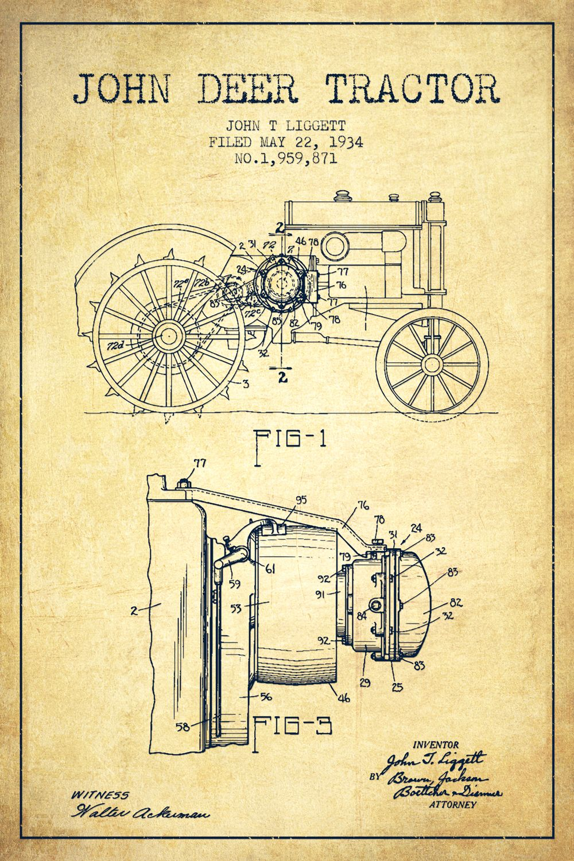 John Deere Tractor Vintage Patent Blueprint by Aged Pixel - canvas print