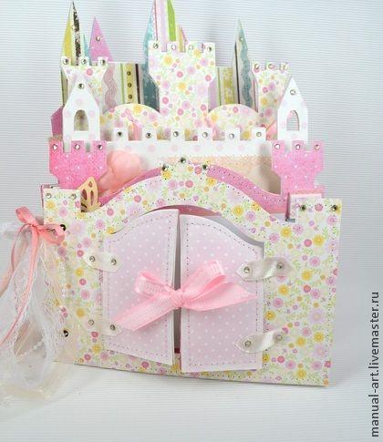 """Альбом для девочки """"Волшебный замок"""" - розовый,детский фотоальбом,на рождение девочки"""