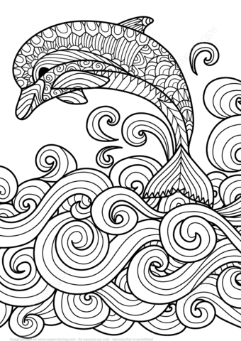 Zentangle Dolphin with Scrolling Sea Wave coloring page from ...