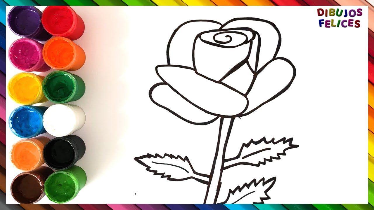 Como Dibujar Y Colorear Una Rosa De Arco Iris Videos Para Ninos Dibujos De Colores Dibujo De Rosa Dibujos De Rosas
