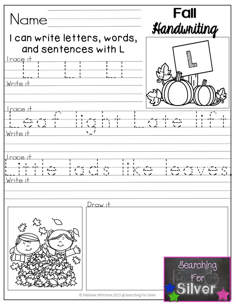 Fall Handwriting NoPrep  Fall Words Handwriting And Sentences