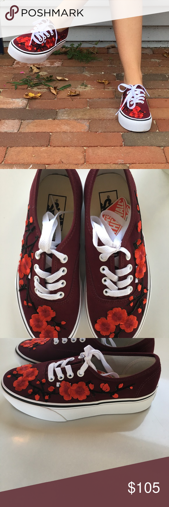 77f52e1389 Custom Patch Cherry Blossom Vans Posting these to see if anyone would be  interested in me