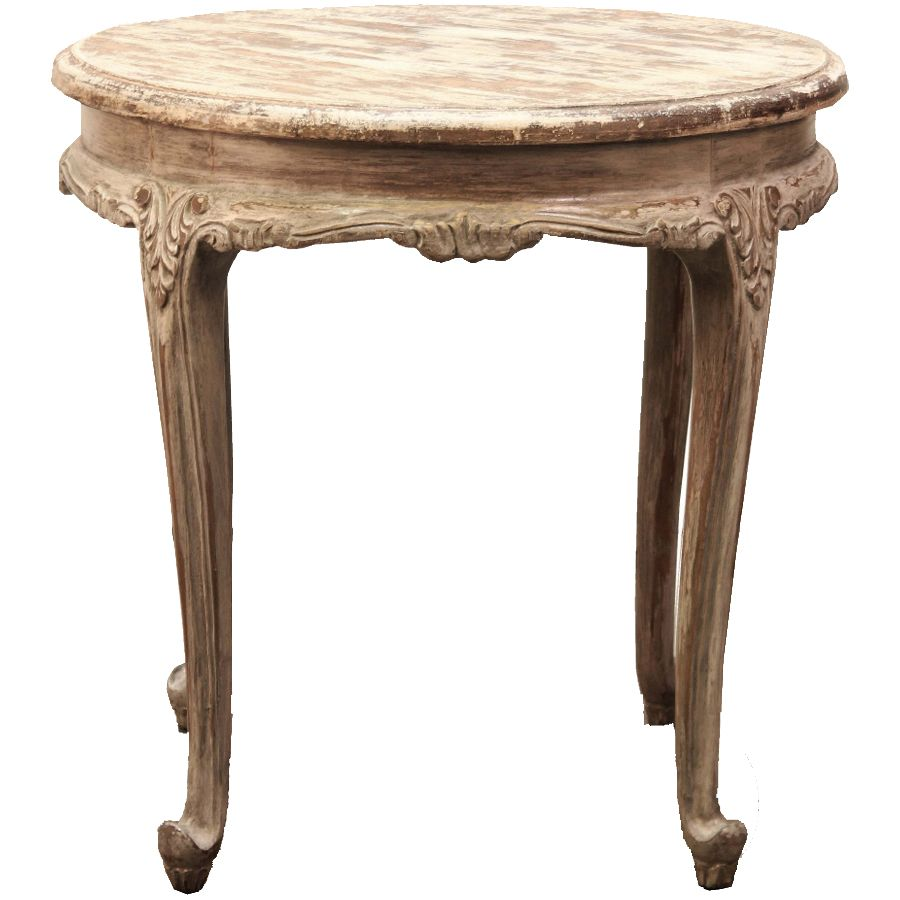 Petite Round French Accent Table   Vintage French