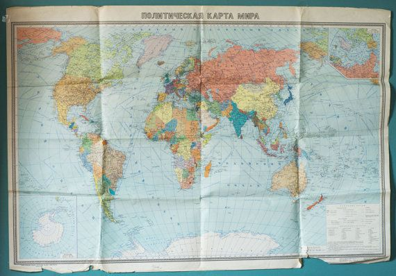 Detailed political world wall map from soviet classroom printed in large vintage world map political wall map soviet by sovietera gumiabroncs Image collections