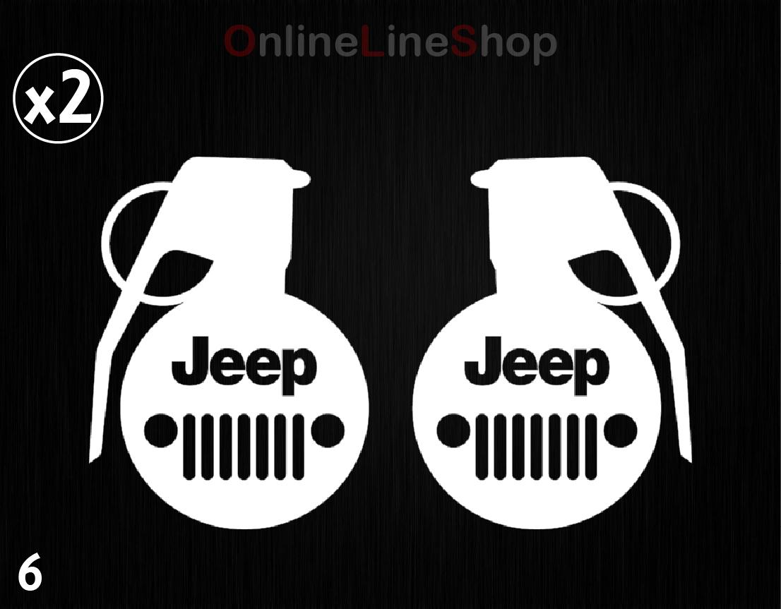X2 Jeep Grenade Bomb Car Window Stickers Vinyl Decals Sport 4x4