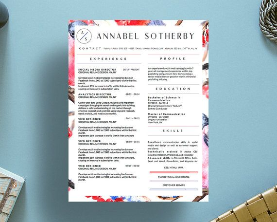 Beautiful Resume Templates With Matching By Originalresumedesign