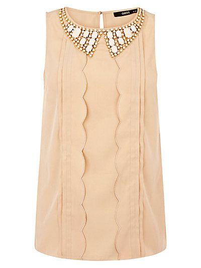 Buy Oasis Embellished Collar Top, Multi online at JohnLewis.com