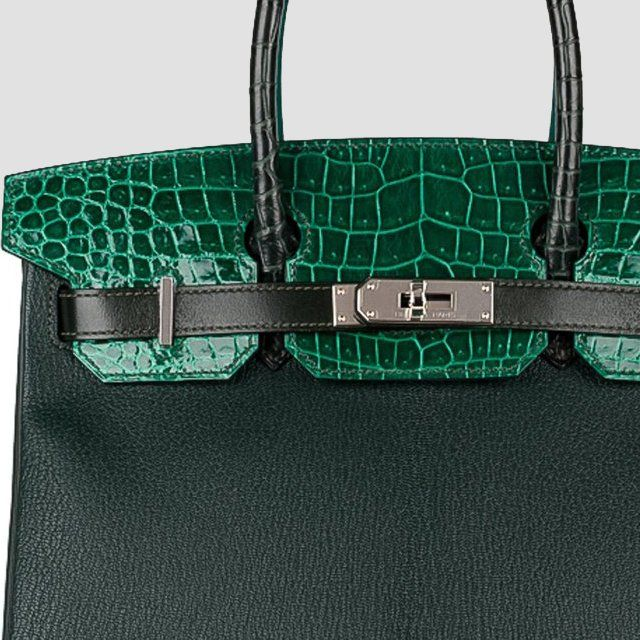 bc48072158 Hermes Birkin 30 Patchwork Vert Fonce Vert Titen Emerald Chevre Clemence  Box Calf Porosus Crocodile Palladium Hardware