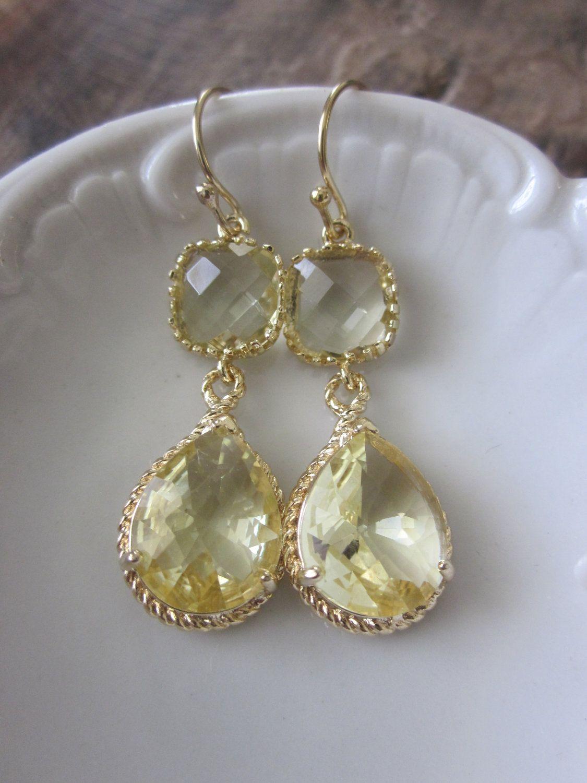 Citrine Earrings Yellow Gold Teardrop Gl 14k Filled Earwires Bridesmaid Wedding