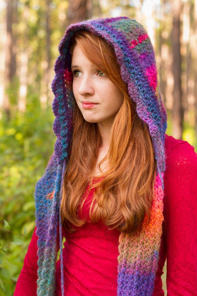 Whisper - Hoodie Scarf With Pom Poms Crocheted, knit -Scarves, shawls, hood...