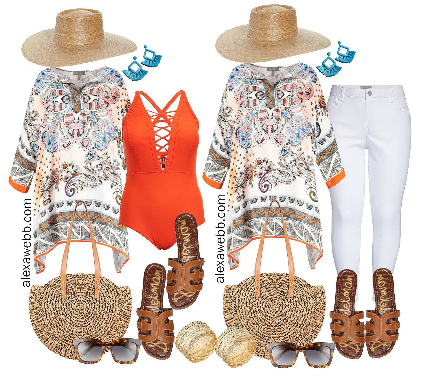 Two plus size beach vacation outfits.  Both striking with this bright tunic, which can