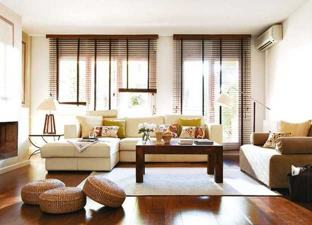 Stylish Interior Decorating With Functional Modern Window Blinds Living Room