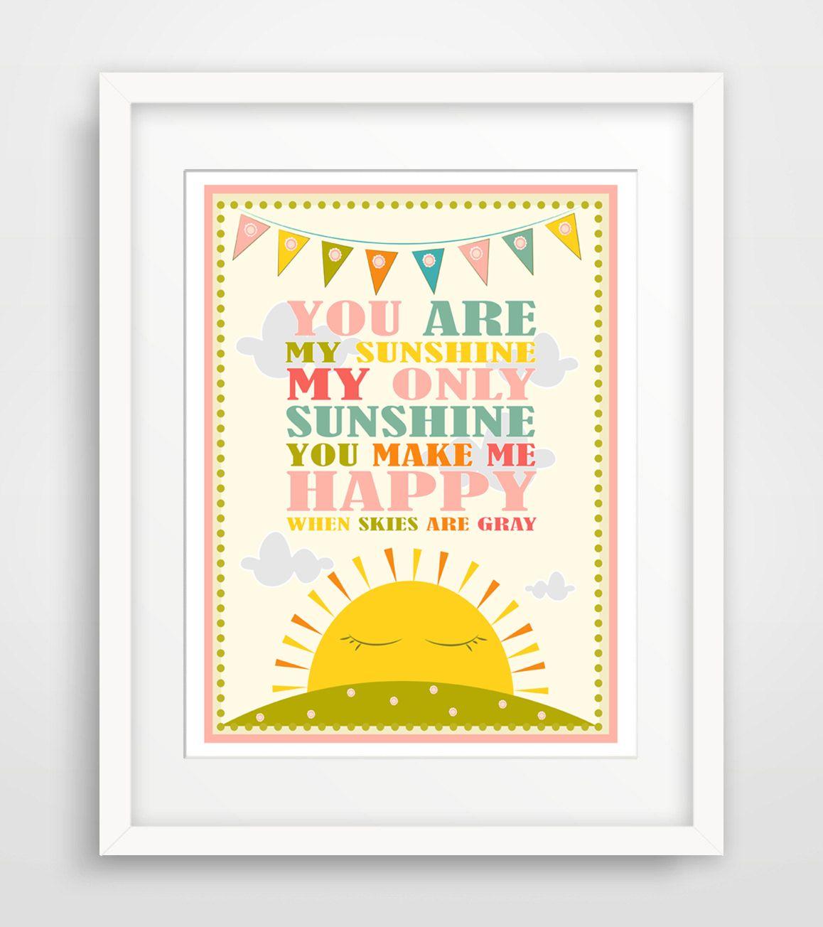 Supermarket: Childrenu0027s Wall Art / Nursery Decor / Kids Room You Are My  Sunshine.