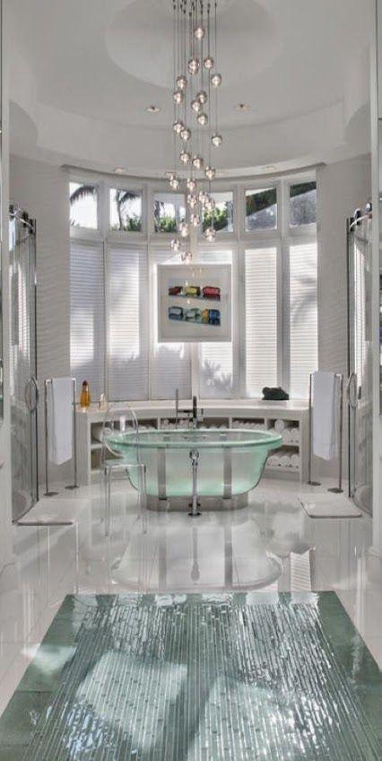 Sanitarios de baño  Bañeras de baño #bañera de cristal todo un lujo - baos de lujo