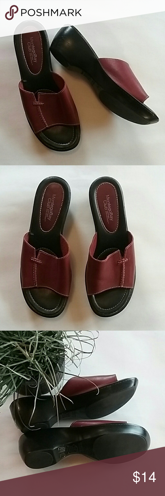 c8d30ba80 Montego Bay Club leather sandals in exc cond Leather upper. The only wear  is some scratches on the sides of the black heels. See pic 4.