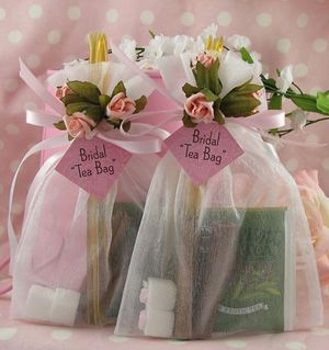 The best wedding favor you can give is one that will create the impressing, carry through the theme and disappear.......because it was used!  Tea wedding favors
