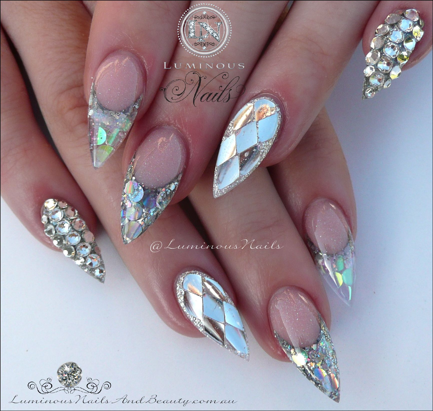 Blue glitter ombr 233 stiletto nails - Bling Nails