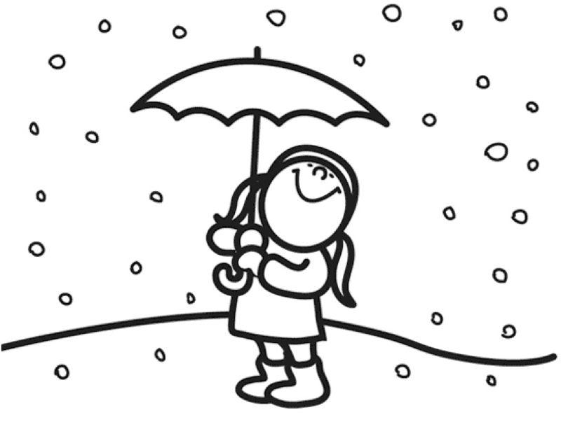 Ausmalbild Winter: Kostenlose Malvorlage: Mädchen im Schnee ...