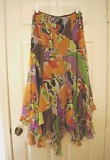 DANA BUCHMAN Silk Multi-Color Chiffon Long Skirt w/ Asymmetrical hem ~ Womans 10