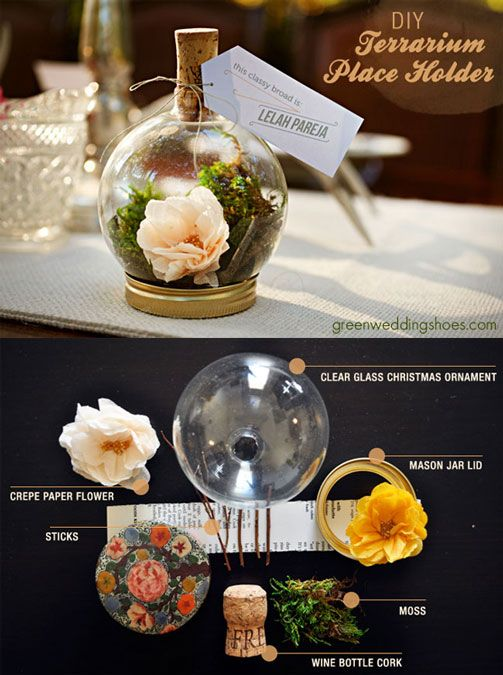 DIY terrarium place card holder - love this